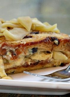Cinnamon Raisin Overnight French Toast with Apple Filling #recipe