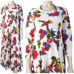 Vintage 1970's Maxi Dress With Hummingbird Print By Futura Couture Of New York