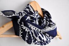 Navy Nautical Blue Floral Fabric Scarf with Turkish Lace  by zuzusworld,