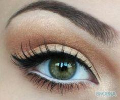 . eye makeup . peach/brown . green-hazel eyes .