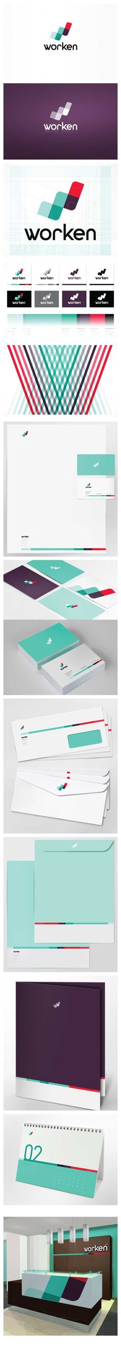 Worken #identity #brand - by Paola Flores | #stationary #corporate #design #corporatedesign #logo #identity #branding #marketing <<< repinned by an #advertising agency from #Hamburg / #Germany - www.BlickeDeeler.de | Follow us on www.facebook.com/BlickeDeeler