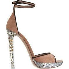 Alessandra Ambrosio wearing Miu Miu Crystal Heel Platform Sandal.