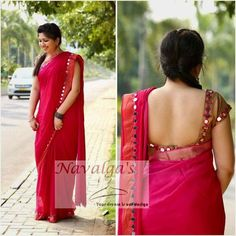 Top Beautiful Mirror work Blouse Designs Latest designs :- Mirror work blouse designs have become fashion now. When a mirror work blouse is combined with a plain saree it will give stunning a… Designer Saree Blouses, Silk Saree Blouse Designs, Saree Blouse Patterns, Designer Dresses, Mirror Work Blouse Design, Mirror Work Saree, Simple Sarees, Blouse Models, Elegant Saree