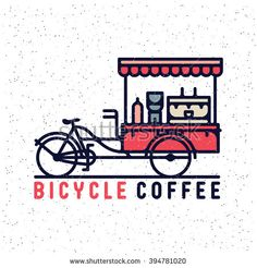 One thin line, flat vintage retro mobile coffee cart. Coffee bicycle, vector illustration, street food