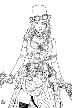 Steampunk Coloring Pages | Coloriage adulte steampunk (page 2 ...