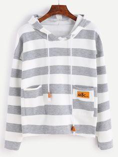 Wide Striped Dual Pocket Dip Hem Drawstring Hooded Sweatshirt Mobile Site