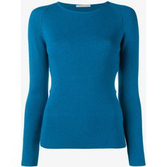 Emilia Wickstead Heidi Cutout Sides Ribbed Sweater ($810) ❤ liked on Polyvore featuring tops, sweaters, teal, round neck sweater, blue jumper, cutout tops, long sleeve sweater and long sleeve jumper
