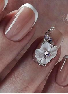 The wedding manicure - the beauty of the bride is in the smallest details - My Nails 3d Acrylic Nails, 3d Nails, Cute Nails, Bride Nails, Wedding Nails, 3d Nail Designs, Art Designs, Nagel Bling, Gold Nail Art