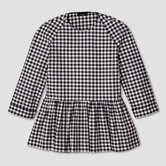 Women's Blue and White Gingham Twill Peplum Blouse - Victoria Beckham for Target : Target