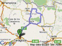 Sierra de Guara y el Serrablo. Total recorrido: 382 Km.