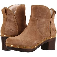 UGG Cam II (Chestnut) High Heels (£70) ❤ liked on Polyvore featuring shoes, boots, brown, high heel boots, beach shoes, high heeled footwear, platform boots and brown shoes