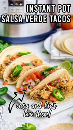 Taco night dinner has never been easier! Easy Salsa Verde Chicken Tacos are bursting with flavor. Make the slow cooker or the Instant Pot! You may also love our pork carnitas. Back to school time is coming like a hurricane and it's time to start planning those easy weeknight dinners. If you're like us, between sports, school and family activities, life gets crazy this time of year. Mexican Dishes, Mexican Food Recipes, Dinner Recipes, Ethnic Recipes, Quick Casseroles, Mexican Appetizers, Carnitas, Chicken Tacos, Salsa Verde