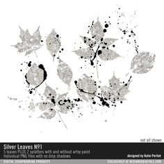 Silver Leaves No. 01 by Katie Pertiet at Designer Digitals