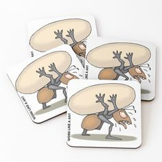'The Mighty Ant' Coasters by Beer-Bones South African Artists, Canvas Prints, Art Prints, Free Stickers, Coaster Set, Ants, Cotton Tote Bags, Floor Pillows, Duvet Covers