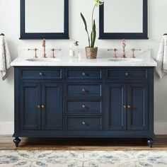 Five Secrets About Blue Bathroom Vanity Cabinet That Has Never Been Revealed For The Past 4 Years - Keller Double Vanity for Rectangular Undermount Sinks - Vintage Navy Blue Blue Bathroom Vanity, Navy Blue Bathrooms, Blue Vanity, Vessel Sink Vanity, Double Sink Vanity, Marble Vanity Tops, Vanity Cabinet, Double Sinks, Vanity Units