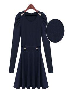 Fashion round neck long-sleeved Puff Sleeve Dress