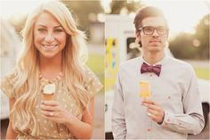 Wedding PR, Wedding Public Relations, WEdding Marketing Expert, Alix Loosle, ice cream engagement shoot, summer engagement shoot ideas, Dads Ice Cream Truck, coral heels, hi-lo skirt, bowtie, ice cream, statement necklace, fun engagement session ideas, outdoor engagement session ideas