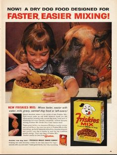 "1962 FRISKIES MIX DOG FOOD vintage magazine advertisement ""faster, easier mixing"" ~ NOW! A DRY DOG FOOD DESIGNED FOR FASTER, EASIER MIXING! - NEW FRISKIES MIX: Mixes faster, easier with water, milk, gravy, canned dog food or left-overs! - Special ..."