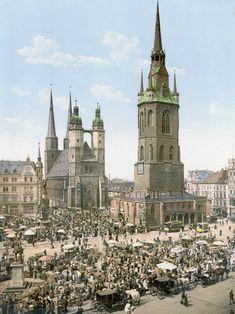 Marktplatz von Halle mit den fünf Türmen um 1900