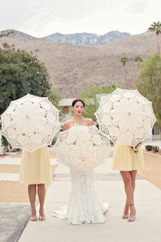 Palm Springs Weddings- Parasols  Ace Hotel + Arrangement Designs Floral