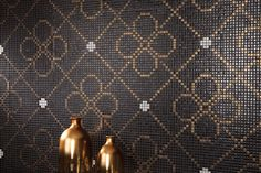 """Arts"" series. based on gold & black mosaics and black grout."