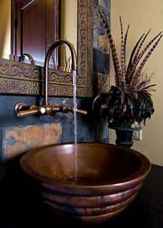 Bathroom Sink With Wall Mounted Faucet Golden Dark Brown Bowl Sink Color Fun Enjoyable Nice Cool Flowers Pot Bathroom Copper Bathroom, Wall Mounted Bathroom Sinks, Wall Mount Faucet, Bathroom Faucets, Copper Faucet, Bathroom Showers, Hammered Copper, Bathroom Cabinets, Antique Copper