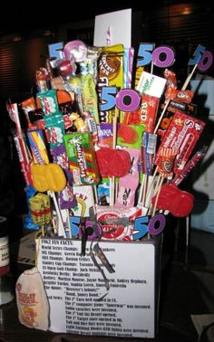 birthday candy arrangement full of retro candy. See more birthday gag gifts and party ideas at www. Birthday Basket, Birthday Candy, 50th Birthday Gifts For Woman, Birthday Sayings, Birthday Greetings, Birthday Wishes, 50th Birthday Party, Birthday Ideas, Birthday Crafts