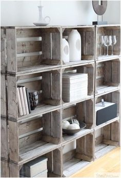.Crate shelving.... Add baskets for more discrete storage