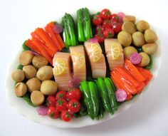 Dollhouse Miniature Food Salmon and Vegetable Platter in 12th Scale. $25.00, via Etsy.