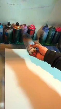 Canvas Painting Tutorials, Diy Canvas Art, Acrylic Painting Canvas, Spray Paint Artwork, Art Painting Gallery, Art Drawings Sketches Simple, Art Techniques, Art Tutorials, Art Lessons
