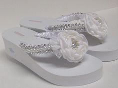 Bridal Flip Flops / Wedding Satin Flip Flops / by RossyAccesorios, $45.00