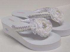Bridal Flip Flops / Wedding Satin Flip Flops / by RossyAccesorios, $45.00
