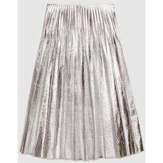 Gucci Metallic Leather Plissé Skirt ($2,745) ❤ liked on Polyvore featuring skirts, gucci, bottoms, metallic, metallic silver, ready to wear, women, white knee length skirt, white leather skirt and silver metallic skirt