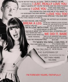 Finn and Rachael were my favorite television series couple - Glee (Rest in Peace Cory Monteith) Glee Memes, Glee Quotes, Tv Quotes, Scandal Quotes, Fandom Quotes, Scandal Abc, Glee Rachel And Finn, Lea And Cory, Really Love You