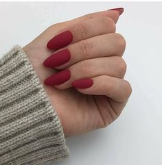 A manicure is a cosmetic elegance therapy for the finger nails and hands. A manicure could deal with just the hands, just the nails, or Cute Red Nails, Red Matte Nails, Red Nail Art, Fun Nails, Acrylic Nails Almond Matte, Almond Nails Red, Purple Nails, Matte Nail Polish, Matte Pink