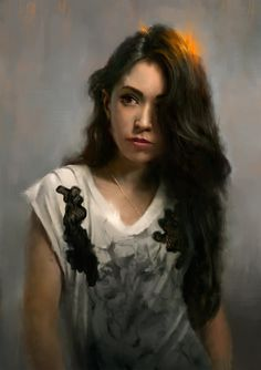 """""""Portrait of Agatha"""" by digital artist Wojtek Fus...not an oil painting or a manipulated photo but a digital painting created on computer"""
