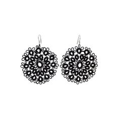 NOVICA Handcrafted Black Cotton Dangle Earrings with Doily Motif ($25) ❤ liked on Polyvore featuring jewelry, earrings, black, dangle, handcrafted earrings, earring jewelry, dangle earrings, cotton jewelry and hook earrings