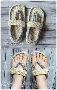 Crochet Women's Strap Flip-Flops Summer Slippers Free Pattern - Crochet Women Slippers Free Patterns