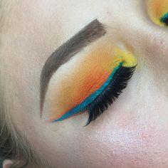 Orange Eyeshadow, Blue Eyeliner, Winged Eyeliner, Brows, Lashes, Beauty Games, Dip Brow, Marmalade, About Hair