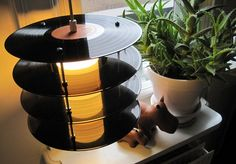 Repurposed vinyl record table lamp.