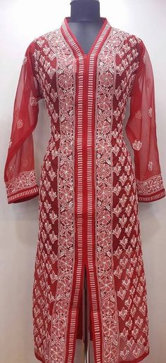 Lucknowi Chikan Hand Embroidered Kurti Red Faux Georgette $40.62