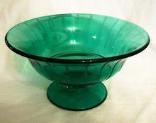 Green Depression Glass Pedestal Bowl ~Etched ~uranium glass