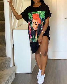 Figure Print Casual T-Shirt Dress Casual T Shirt Dress, Casual T Shirts, Cute Casual Outfits, Ladies Day Dresses, Fashion Wear, Womens Fashion, Afro, Fashion Prints, T Shirts For Women