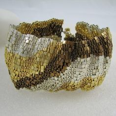 Wide Corrugated Mixed Metals Color Ribbon Peyote Cuff (2539)
