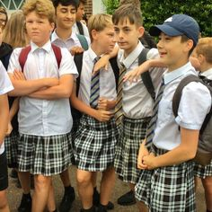 Boys tired of wearing long pants in hot summer weather