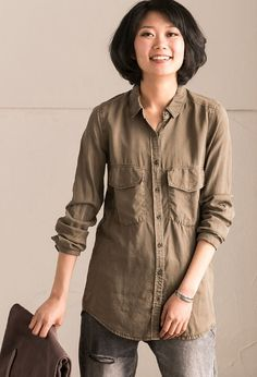 Green Simple Spring Pure Long Sleeve Shirt Women Clothes C0233B