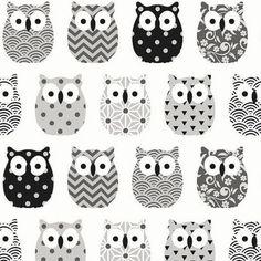 Tissu mini hiboux noir et gris - Tissu Chouettes - Owl fabric - Tissu Oiseaux - Scandinave -Tissu coton Oeko Tex - Nadege Tissus - 1/2 mètre