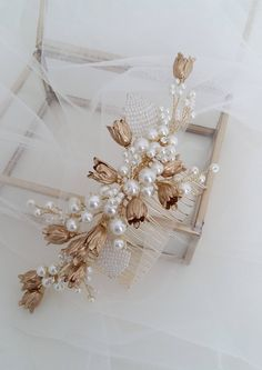 This item is unavailable Hair Comb Wedding, Wedding Hair Pieces, Bridal Comb, Headpiece Wedding, Fabric Jewelry, Hair Jewelry, Bridal Jewelry, Bridal Hair Flowers, Gold Flowers
