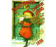 Digital Art CHRISTMAS Victorian Girl Scene Greetings Card,  for Collage, Scrapbooking, Christmas Cards, Vintage Decorating, Ephemera Digital Art, Digital Image, Rose Buds, Vintage Decor, Ephemera, Psychedelic, Decoupage, Christmas Cards, Cross Stitch