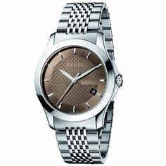 Gucci Men's YA126406 G-Timeless Medium Brown Dial Stainless-Steel Watch Gucci. $750.00. Brown diamond-pattern dial with sun-brushed G frame. Stainless steel bracelet with deployment clasp. Sapphire crystal with anti-reflective coating on the inside. Water-resistant to 99 feet (30 M/3 ATM). Date Indicator. Swiss-Made ETA movement. Stainless steel case; case diameter: 38 mm. Luminous hands and hour marker